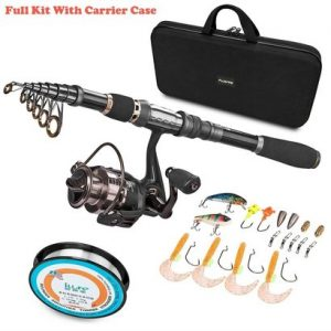 plusinno telescopic fishing rod and ew 300 fishing reel combos full kit with line, lures, hooks, sinker and carrier bag