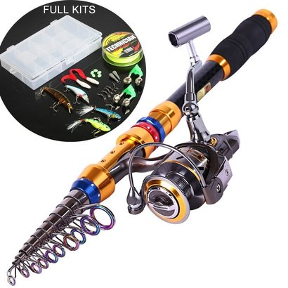 sougayilang fishing full kit with telescopic carbon fishing rod and spinning left/right hand fishing reel