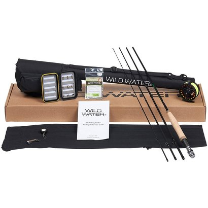 wild water fly fishing complete starter package with 4 piece fly rod, fly reel, monofilament leader, small fly box and fly assortment, line nipper tool and zinger