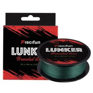 piscifun lunker braided fishing line made of netherlands pe fiber 50 lb 300 yds with nano-coating treatment and abrasion resistance