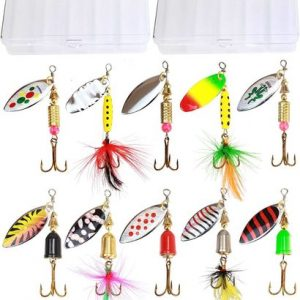 tb tbuymax 10 pcs high quality holographic classic lure spinner bait with 2 tackle boxes