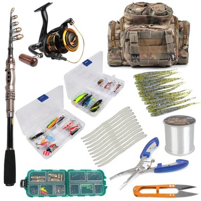 dr.fish 125 pieces fishing kit includes 6ft rod, size 3000 reel, tackle bag and full accessories