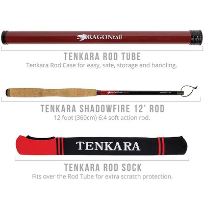 dragontail tenkara telescopic shadowfire 360 bamboo rod includes tenkara rod case and rod sock for scratch protection