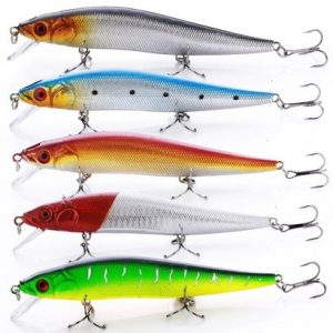 sougayilang 10 pcs fishing lures large hard bait minnow vib lure with treble hook and 3d eyes, lifelike