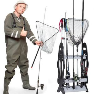 wealers fishing rod storage organizer rack with 16 rod slots and weatherproof frame