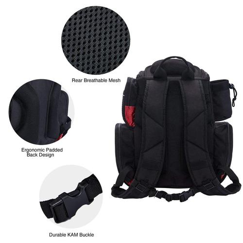 piscifun large capacity tackle backpack with movable clapboard in main compartment, protective rain cover and rubber feet