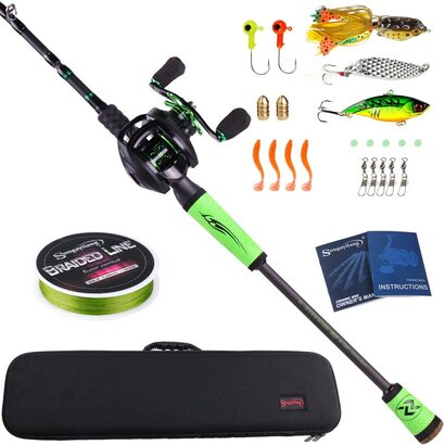 Sougayilang Fishing Rod 2.1M6.89FT with Right Handed Reel Baitcasting Rod Reel with Carrier Bag