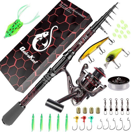 QUDRAKAST fishing rod and reel set included fishing lines, fishing hooks, fishing baits, bag