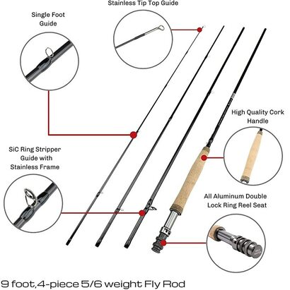 Wild Water Fly Fishing 56 weight 9 foot, 4-piece Fly Rod and 85mm Die Cast Aluminum Reel