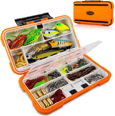 Catchmeister 117pcs Heavy Duty Bass Fishing Lure Kit with Case