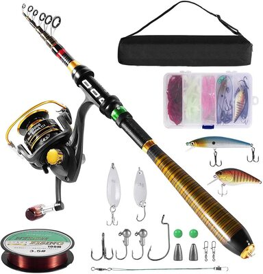 Milerong Carbon Fishing Rod and Reel Combo with Complete Accessories and Portable Bag