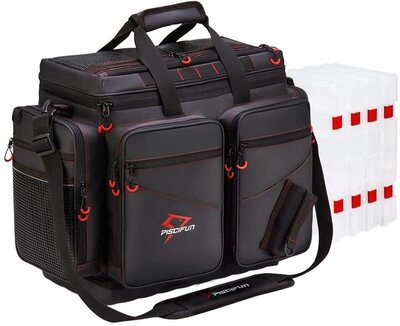 Piscifun Waterproof Travel Pro Large Fishing Tackle Bag includes 4pcs Tackle Trays